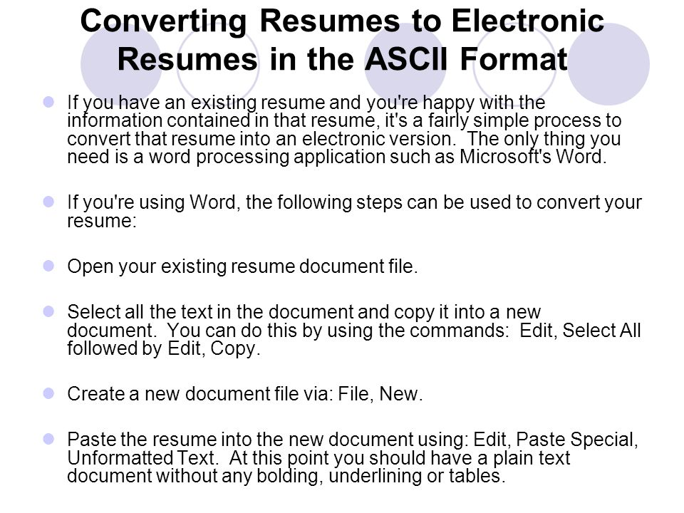 Electronic Resumes What Is A Electronic Resume Read From A
