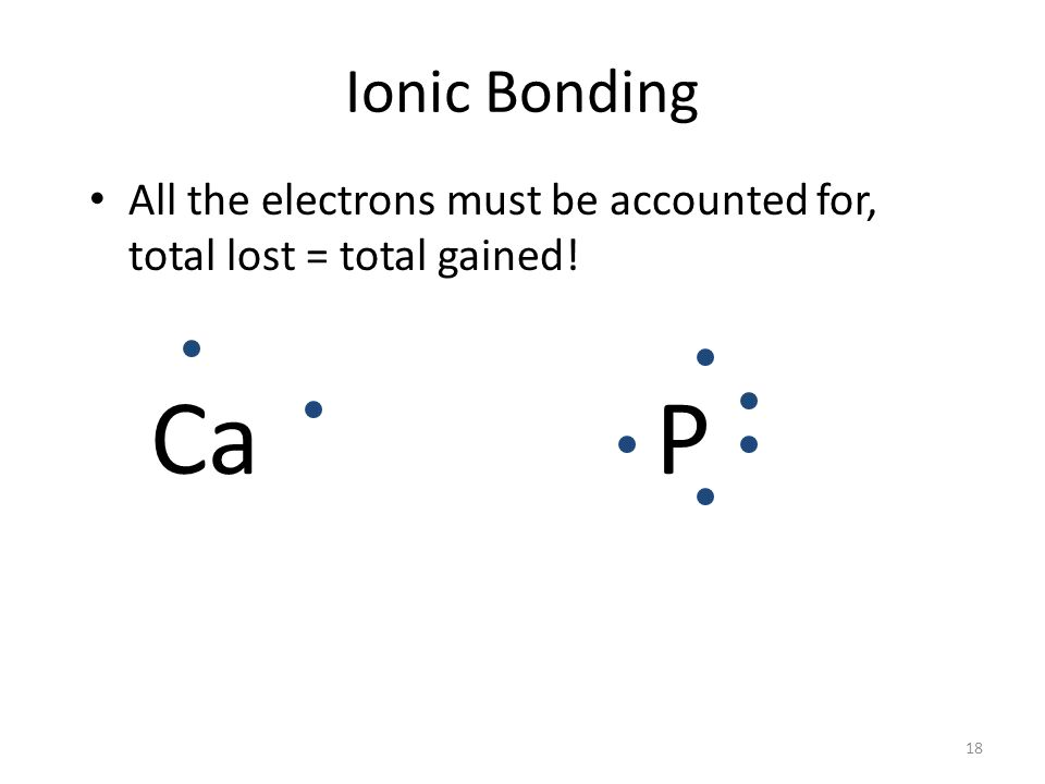 17 Counting Electrons During the formation of an ionic compound the total number of electrons lost (by metals in forming cations) must equal the total number of electrons gained (by anions).