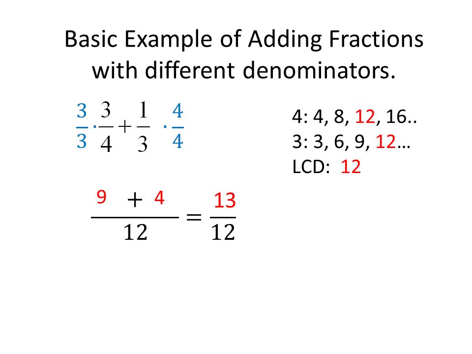 Basic Example of Adding Fractions with different denominators.