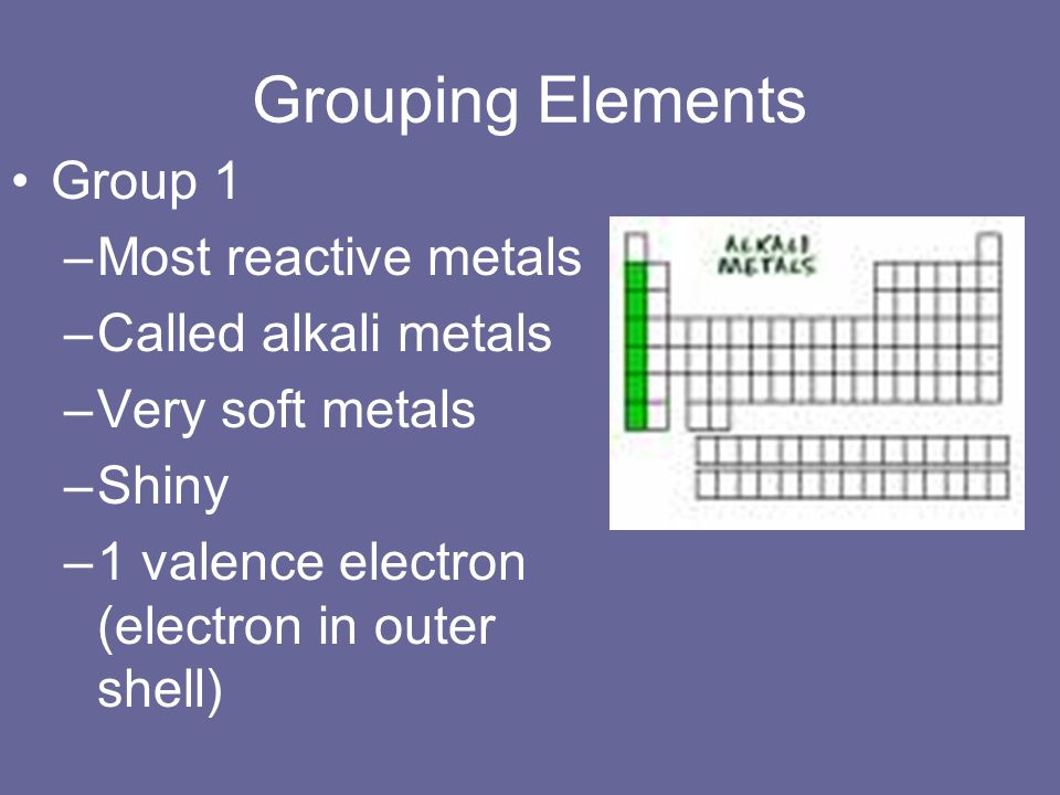 Grouping Elements Group 1 –Most reactive metals –Called alkali metals –Very soft metals –Shiny –1 valence electron (electron in outer shell)