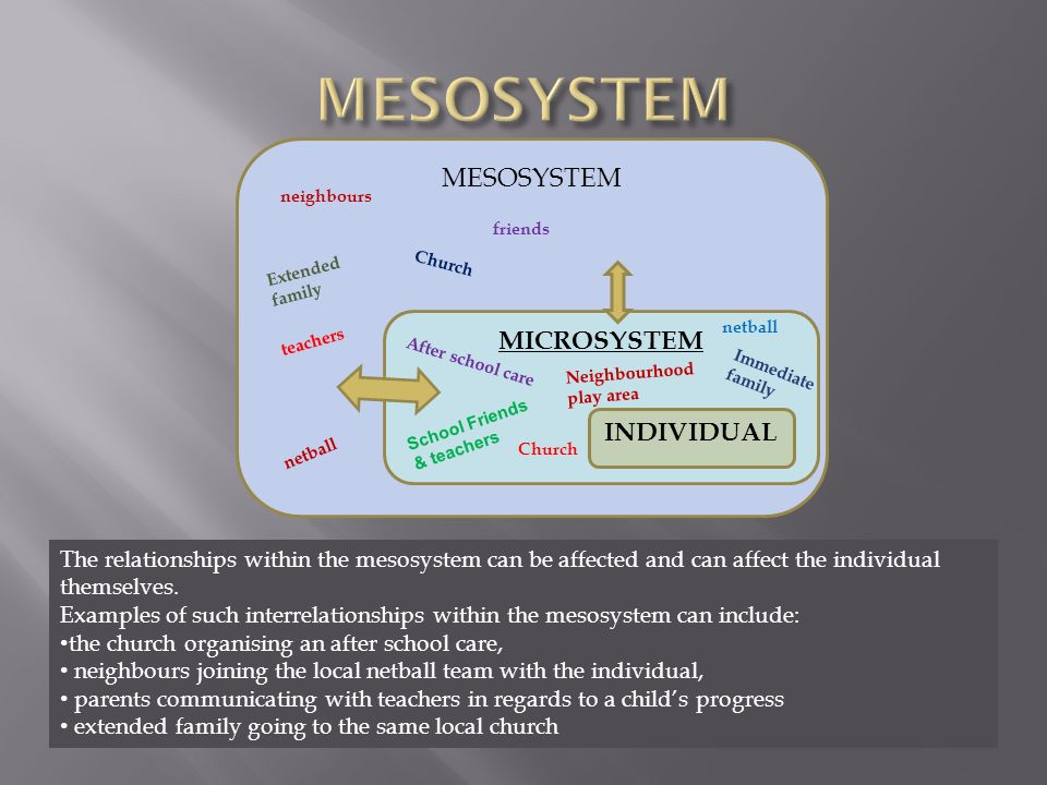 examples of mesosystem in child development