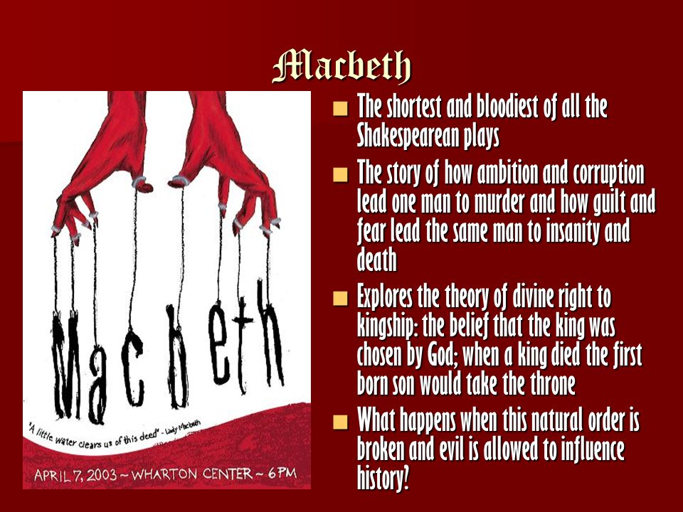 macbeth destructive ambition In macbeth , william shakespeare's tragedy about power, ambition, deceit, and murder, the three witches foretell macbeth's rise to king of scotland but also.