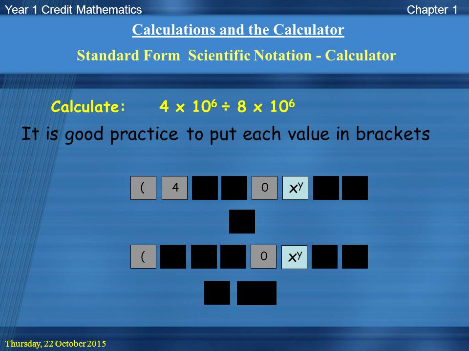 Year 1 Credit Mathematics Thursday 22 October 2015 Lesson Objective