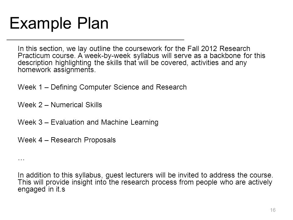 Research Proposals Computer Science Research Practicum Fall 2012