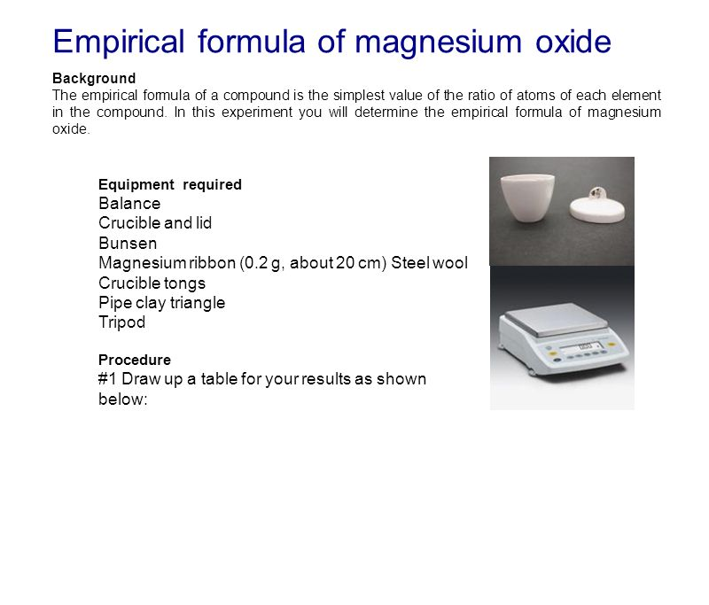Empirical Formula Of Magnesium Oxide Background The Empirical