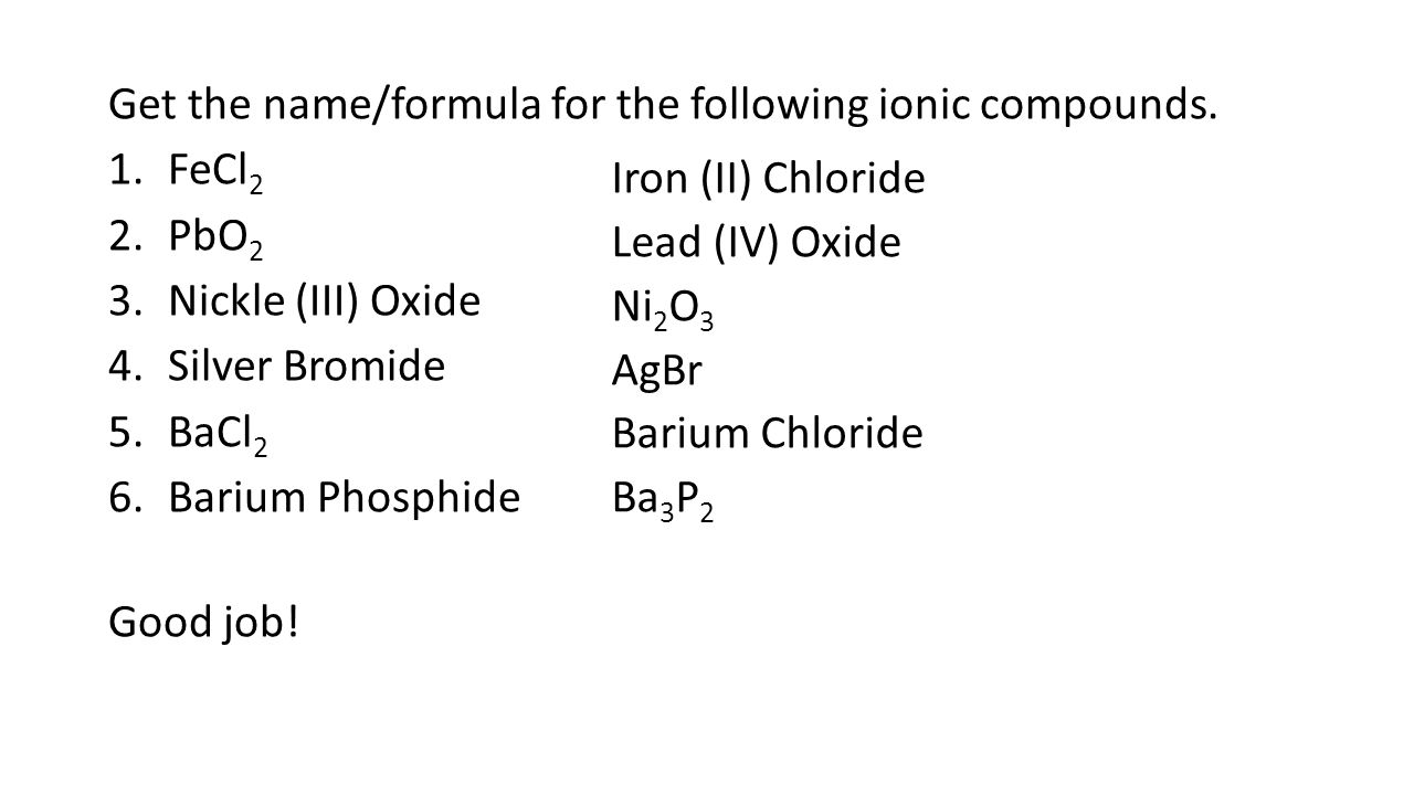 Chp 12 Activity 3 Chemical Names Formulas Page 787 Due Today