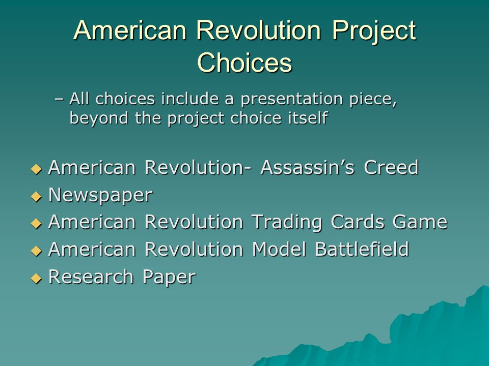 american revolution research paper American revolution the american revolution outcome was an instability direction of self-oriented civic establishments and away from individuals in civil.