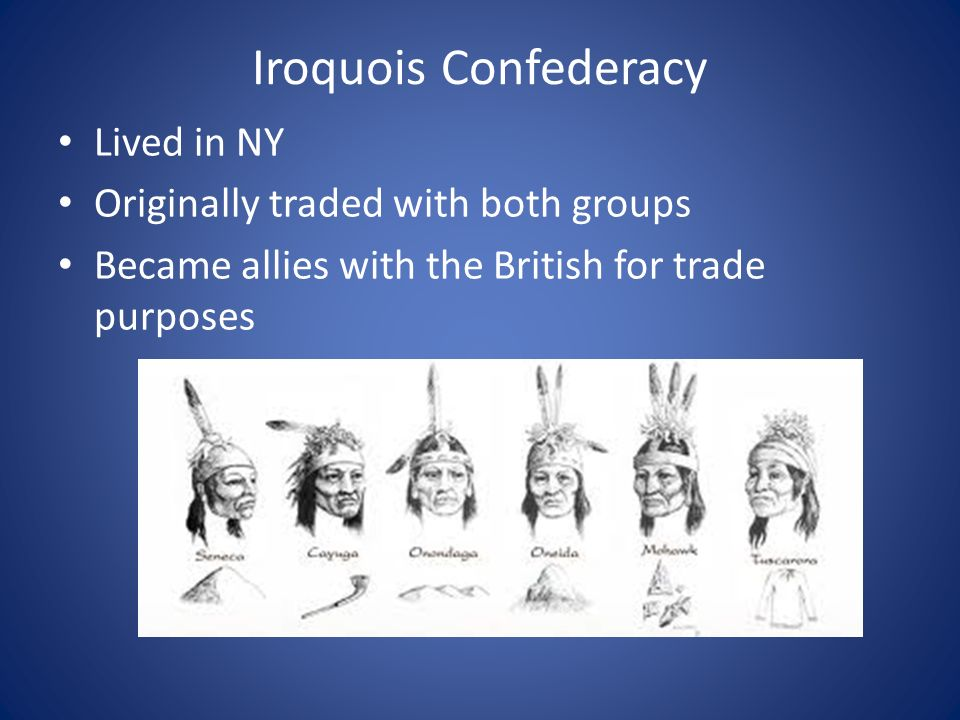 Iroquois Confederacy Lived in NY Originally traded with both groups Became allies with the British for trade purposes