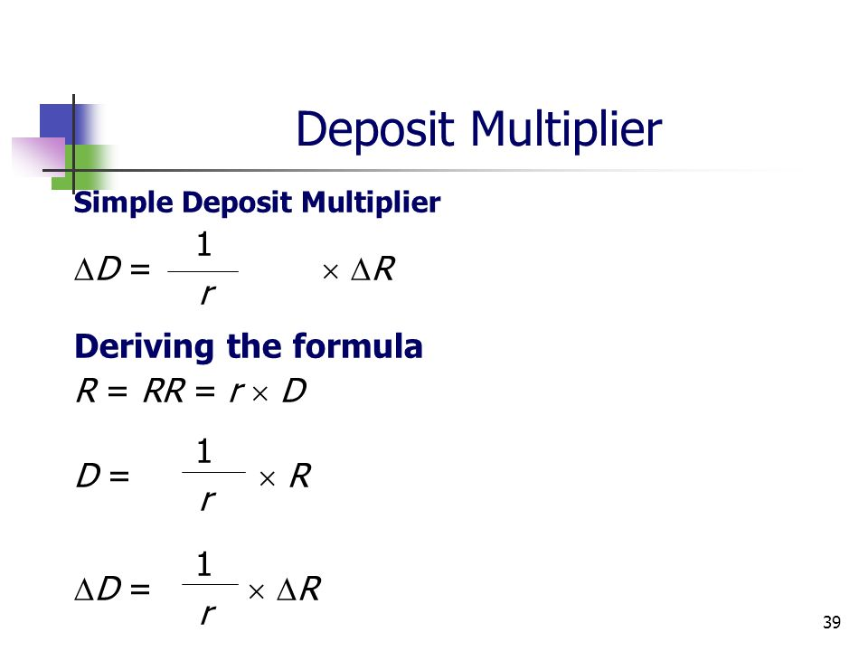 deposit formula  Chapter 11 Multiple Deposit Creation and the Money Supply ...