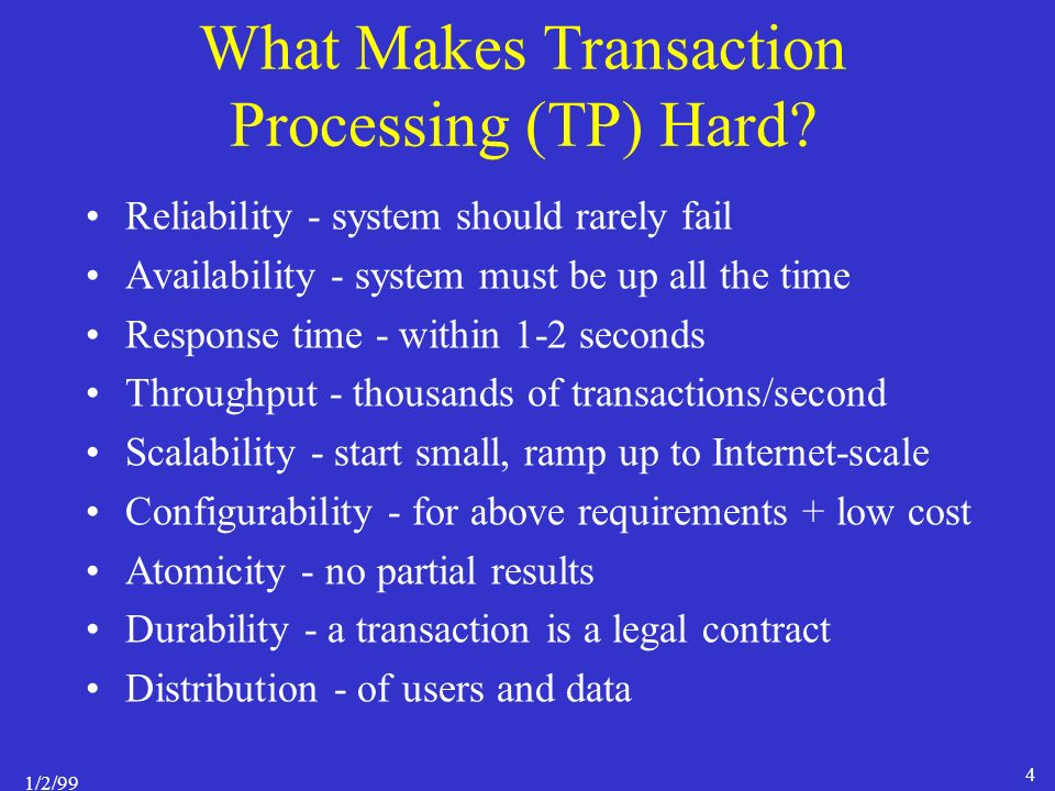 1/2/99 4 What Makes Transaction Processing (TP) Hard.