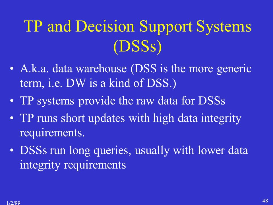 1/2/99 48 TP and Decision Support Systems (DSSs) A.k.a.