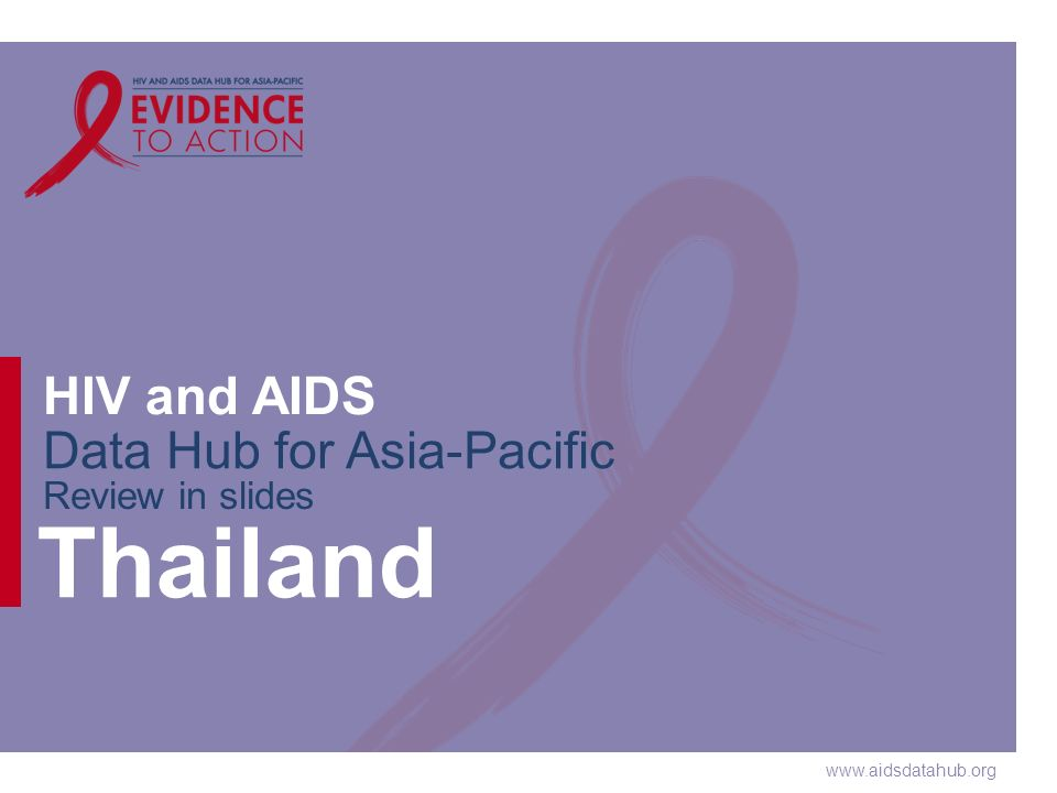 www.aidsdatahub.org HIV and AIDS Data Hub for Asia-Pacific Review in slides Thailand