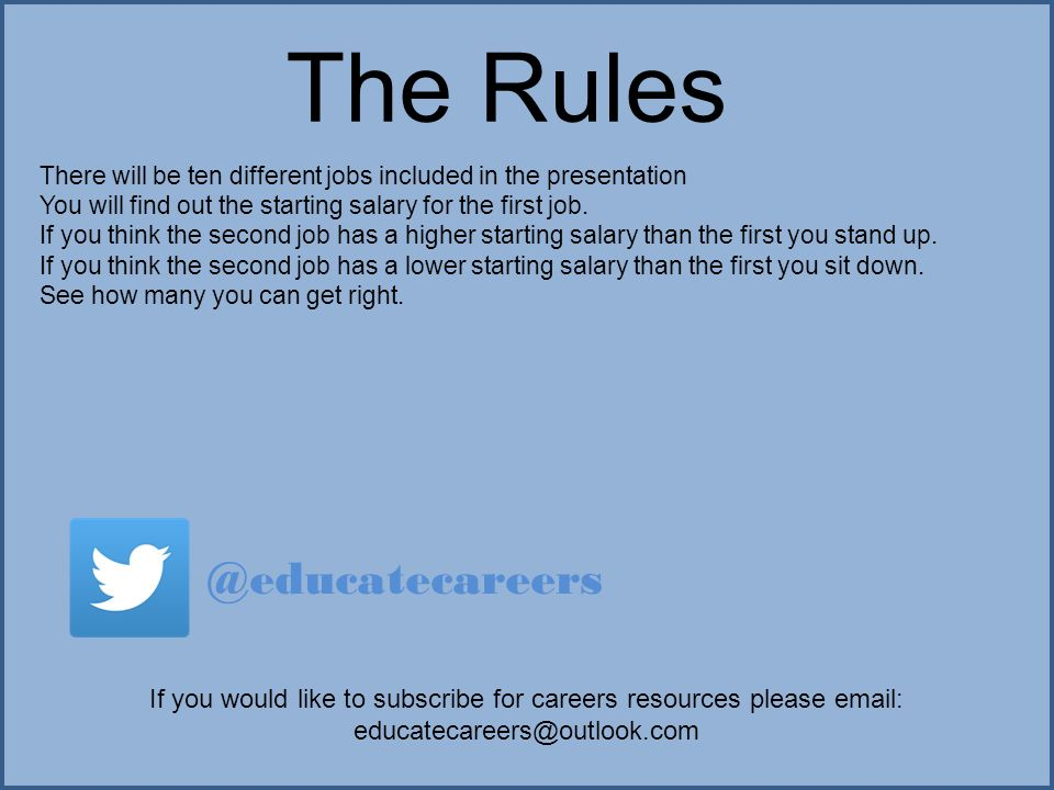 the rules there will be ten different jobs included in the