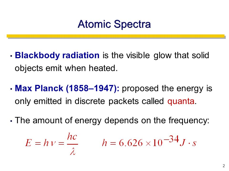 2 Atomic Spectra Blackbody radiation is the visible glow that solid objects emit when heated.