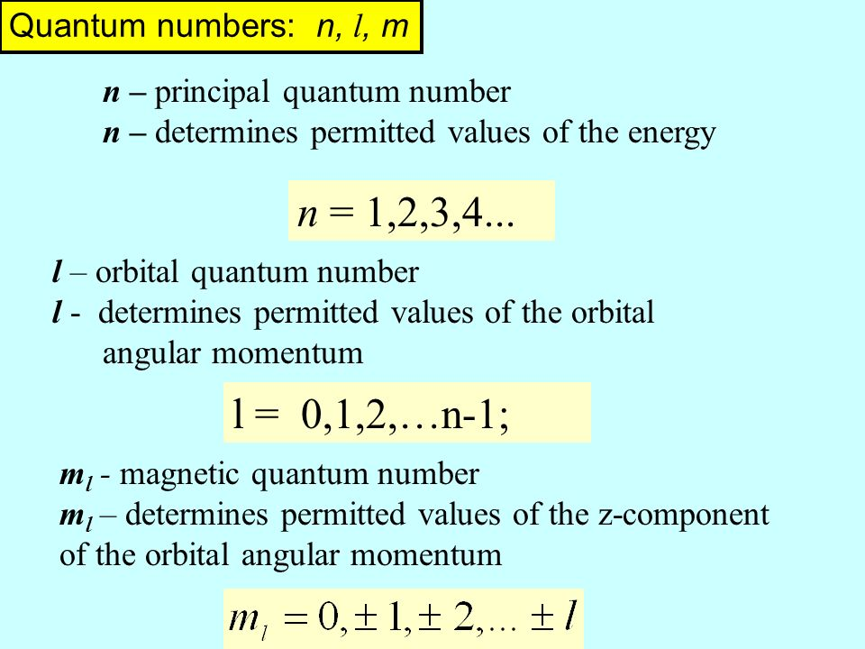 Quantum numbers: n, l, m l – orbital quantum number l - determines permitted values of the orbital angular momentum n – principal quantum number n – determines permitted values of the energy l = 0,1,2,…n-1; m l - magnetic quantum number m l – determines permitted values of the z-component of the orbital angular momentum n = 1,2,3,4...