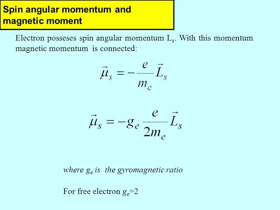 Spin angular momentum and magnetic moment Electron posseses spin angular momentum L s.