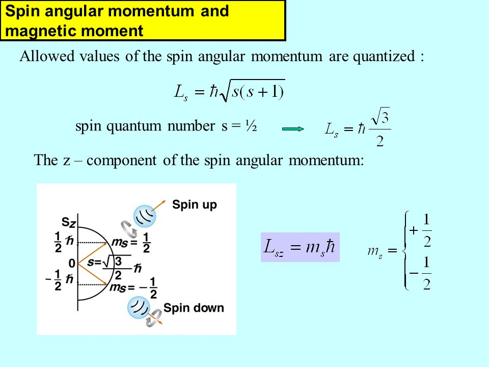 Allowed values of the spin angular momentum are quantized : spin quantum number s = ½ Własny moment pędu - spin The z – component of the spin angular momentum: Spin angular momentum and magnetic moment