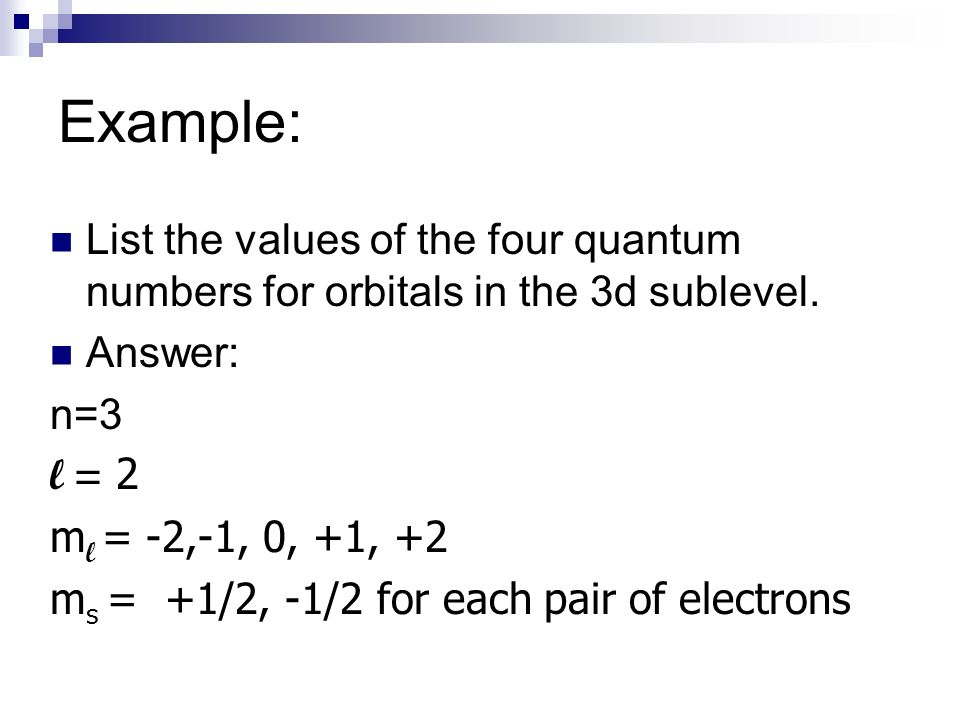 quantum numbers examples with answers