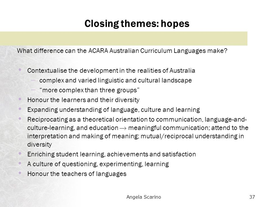 Australian culture and customs language development
