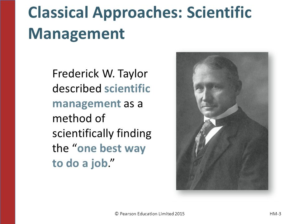 Classical Approaches: Scientific Management © Pearson Education Limited 2015HM-3 Frederick W.