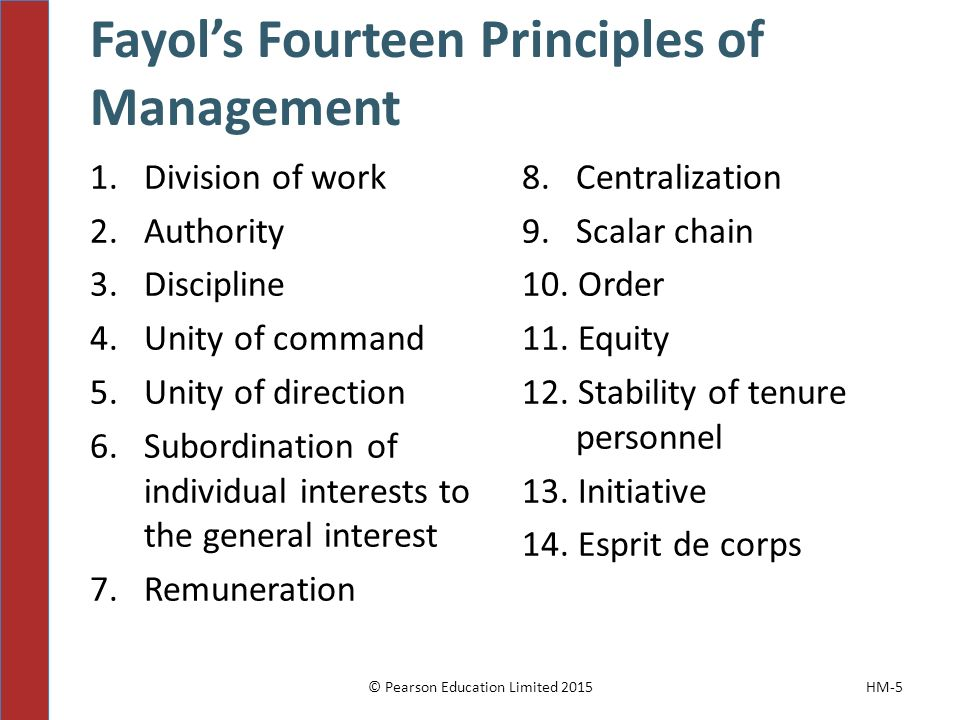 Fayol's Fourteen Principles of Management 1. Division of work 2.