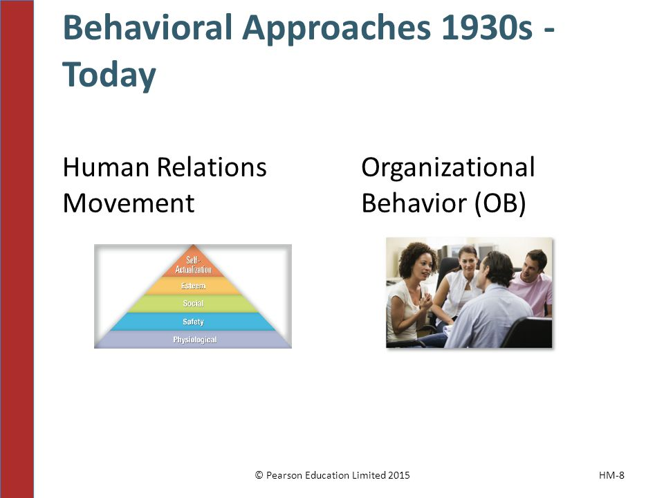 Behavioral Approaches 1930s - Today Human Relations Movement Organizational Behavior (OB) © Pearson Education Limited 2015HM-8