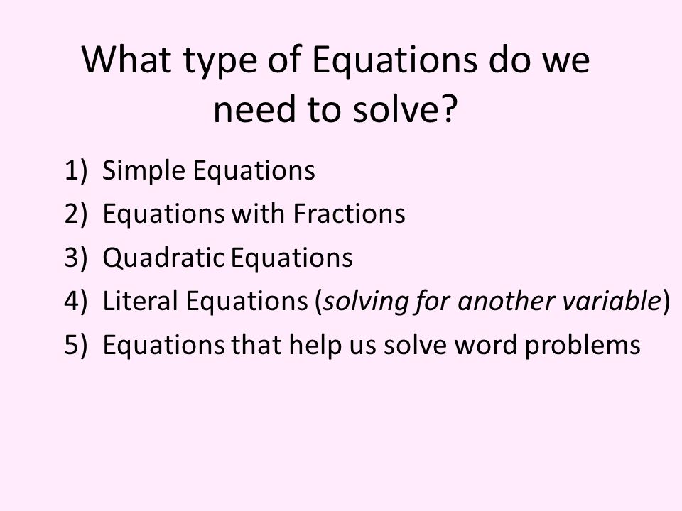 Regents Review 2 Equations What Type Of Equations Do We Need To