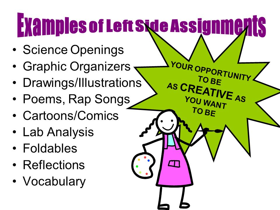 Science Openings Graphic Organizers Drawings/Illustrations Poems, Rap Songs Cartoons/Comics Lab Analysis Foldables Reflections Vocabulary YOUR OPPORTUNITY TO BE AS CREATIVE AS YOU WANT TO BE