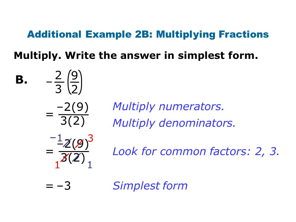 –2(9) 3(2) = = 3 1 Simplest form –3 = Multiply numerators.