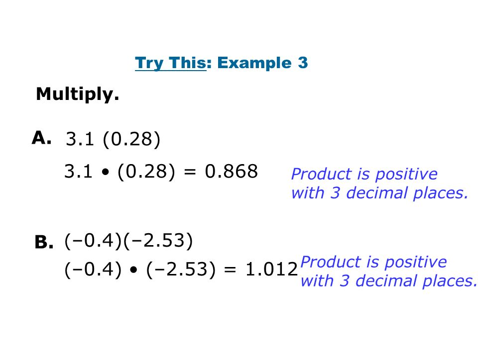 3.1 (0.28) Multiply. Product is positive with 3 decimal places.