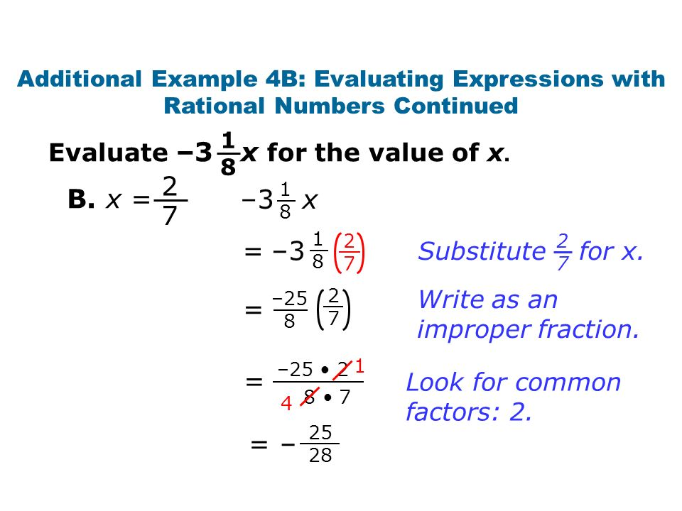 – = = – Write as an improper fraction.