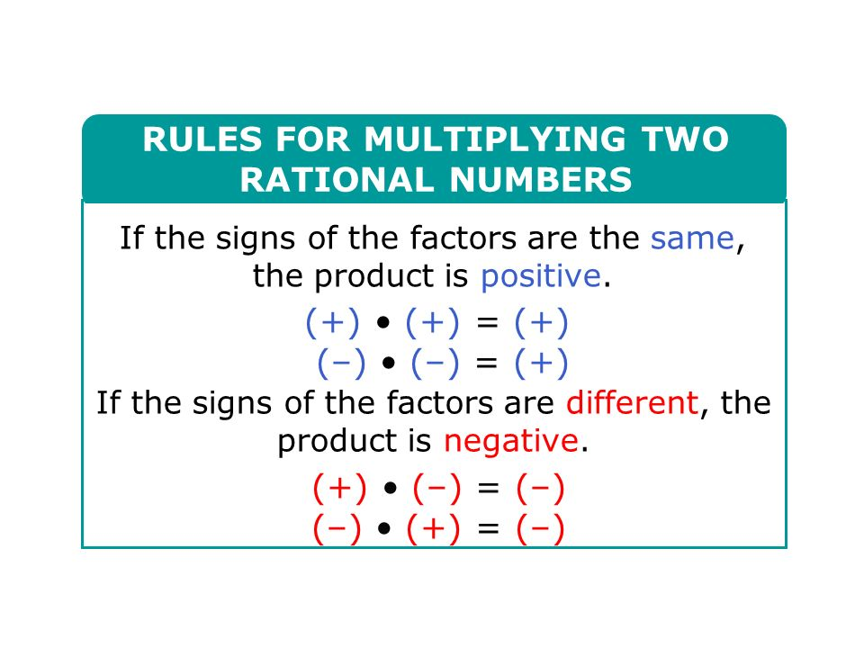 RULES FOR MULTIPLYING TWO RATIONAL NUMBERS If the signs of the factors are the same, the product is positive.
