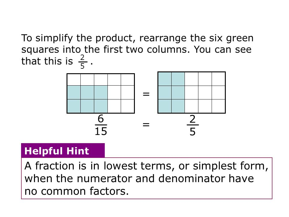 To simplify the product, rearrange the six green squares into the first two columns.