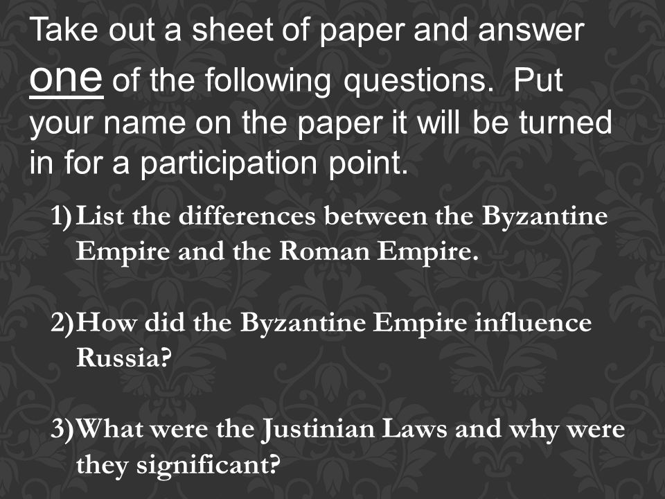 Take out a sheet of paper and answer one of the following questions.