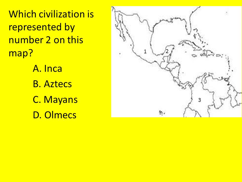 Which civilization is represented by number 2 on this map.