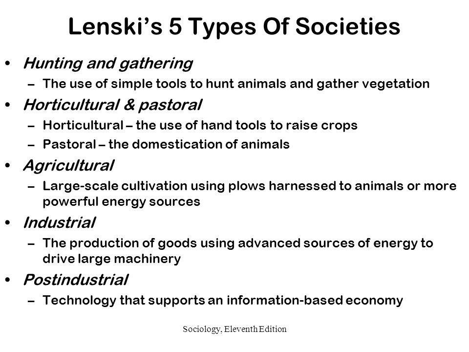 lenskis 5 types of societies