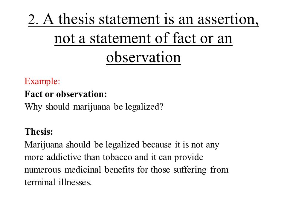 can a thesis statement be a fact