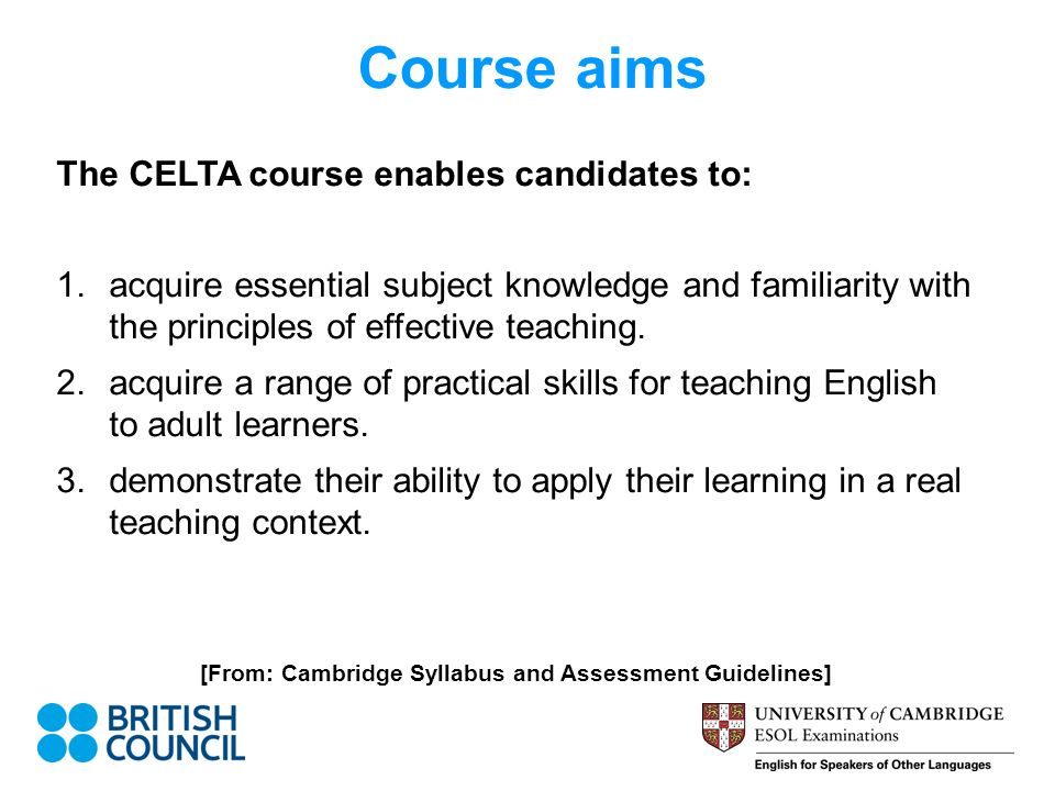 Certificate In Teaching English To Speakers Of Other Languages Celta