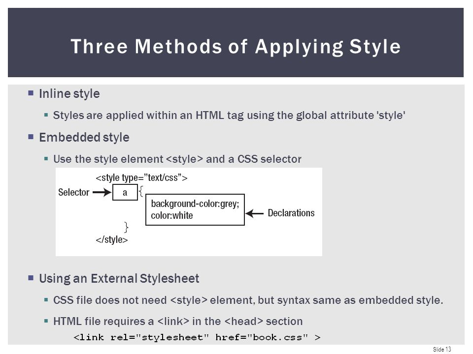 Slide 1 CSS Introduction CSS in Eclipse Applying Styles