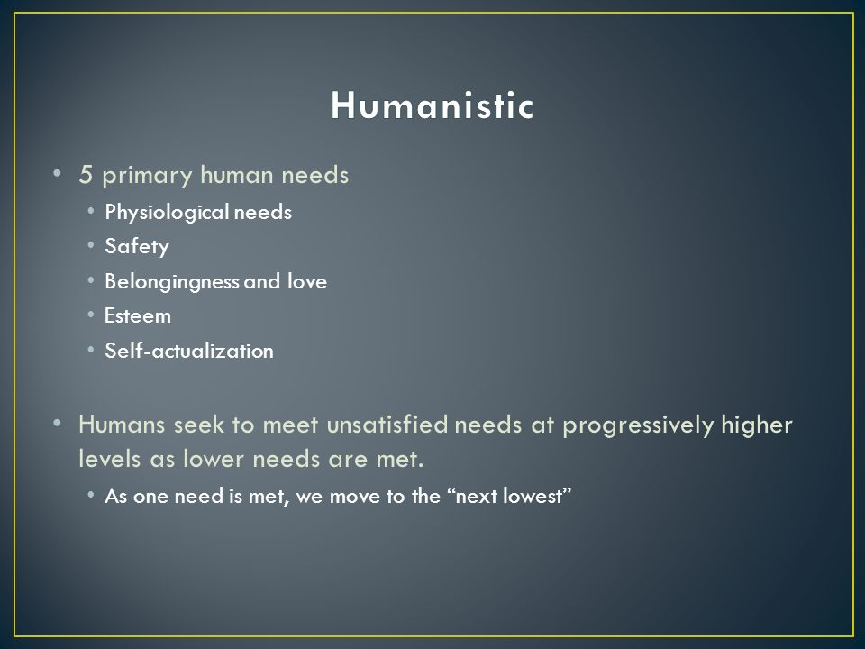 5 primary human needs Physiological needs Safety Belongingness and love Esteem Self-actualization Humans seek to meet unsatisfied needs at progressively higher levels as lower needs are met.