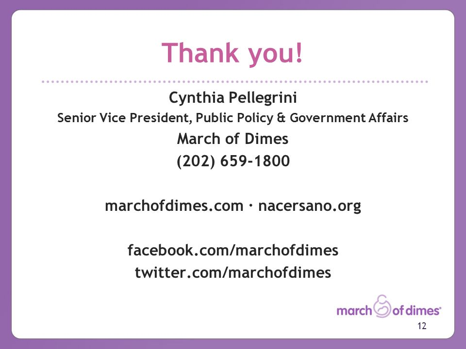 March Of Dimes Initiatives Secretarys Advisory Committee On Infant