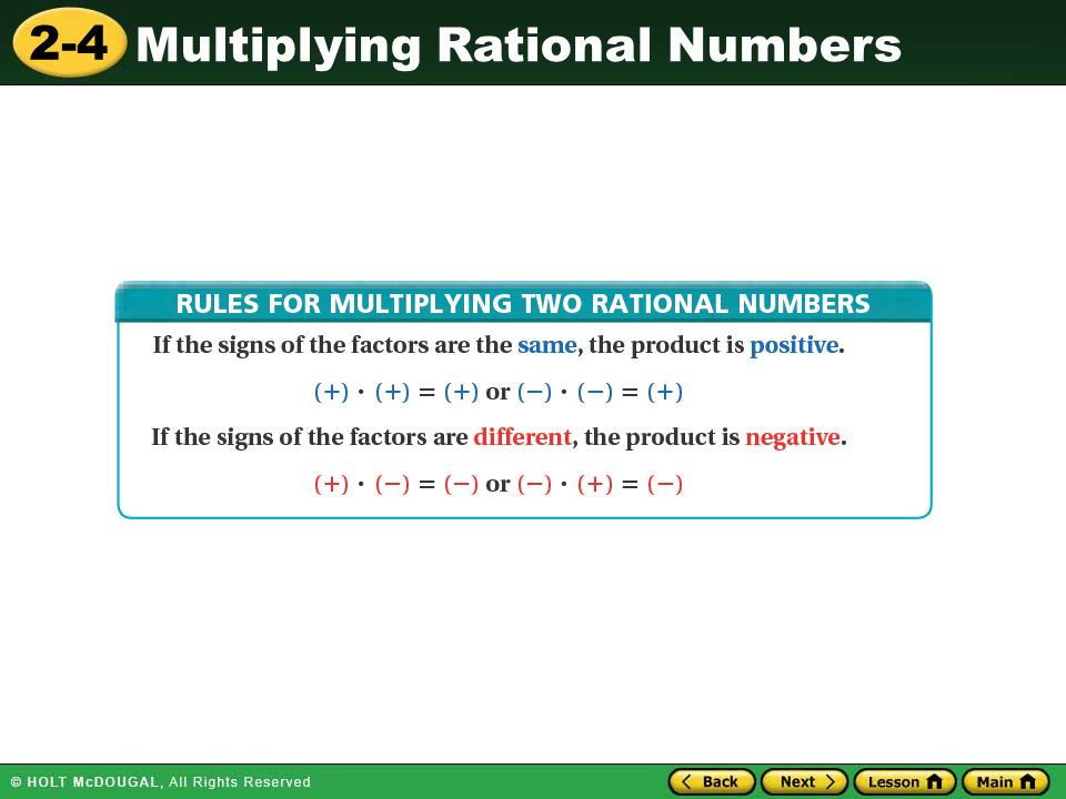 2-4 Multiplying Rational Numbers