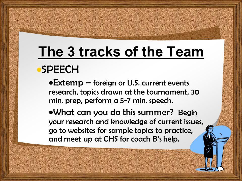 Welcome to the Team! Speech, Debate & Oral Interpretation