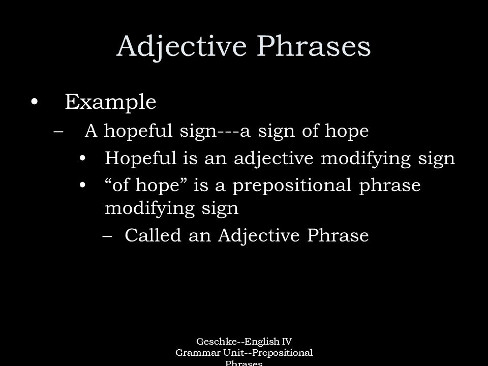 Geschke--English IV Grammar Unit--Prepositional Phrases Adjective Phrases Example –A hopeful sign---a sign of hope Hopeful is an adjective modifying sign of hope is a prepositional phrase modifying sign –Called an Adjective Phrase