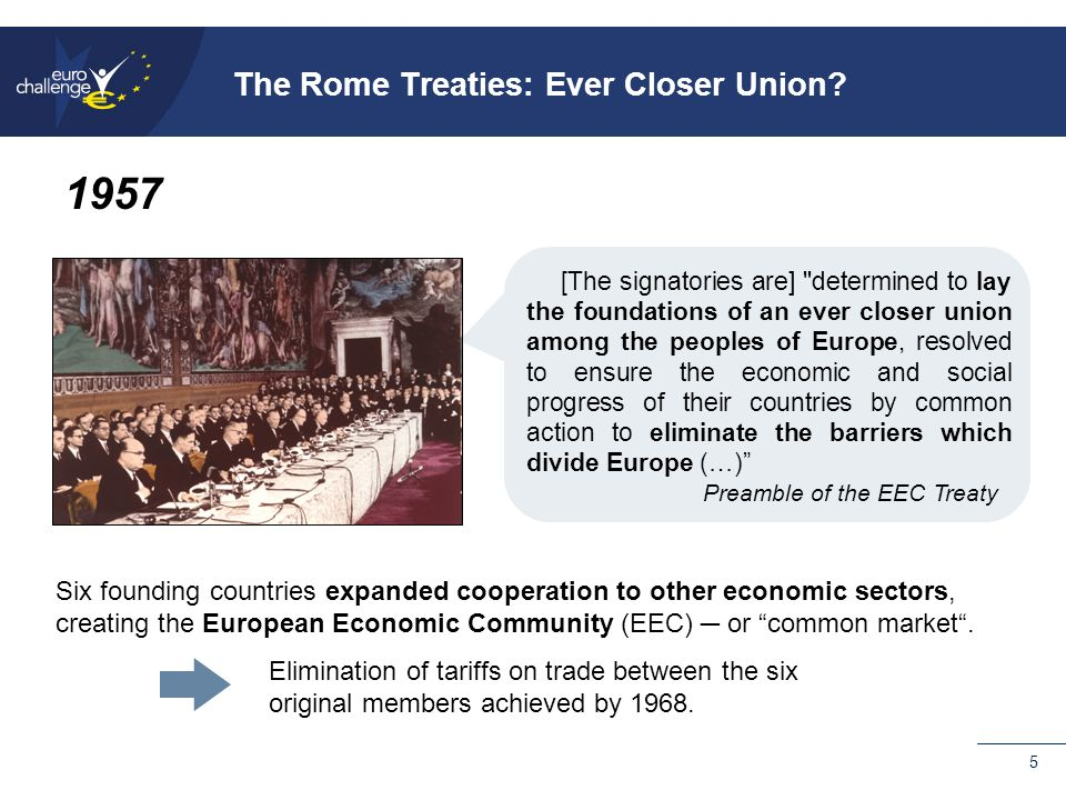 5 Six founding countries expanded cooperation to other economic sectors, creating the European Economic Community (EEC) ─ or common market .