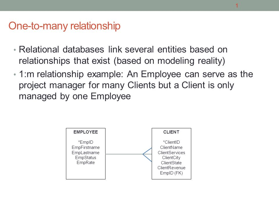 One-to-many relationship Relational databases link several entities