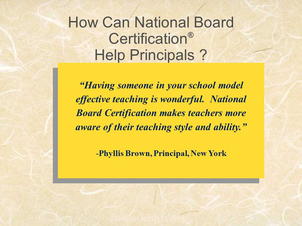 A Distinction That Matters: National Board Certification ® National ...