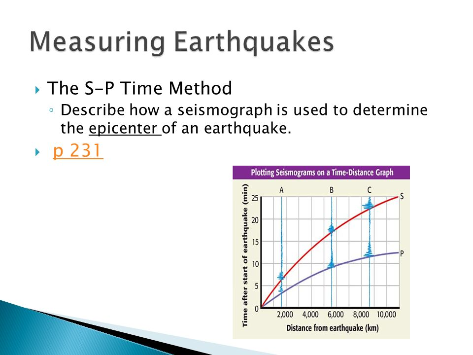  The S-P Time Method ◦ Describe how a seismograph is used to determine the epicenter of an earthquake.