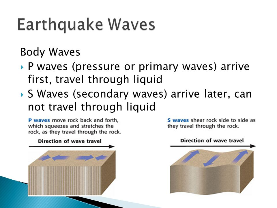 Body Waves  P waves (pressure or primary waves) arrive first, travel through liquid  S Waves (secondary waves) arrive later, can not travel through liquid
