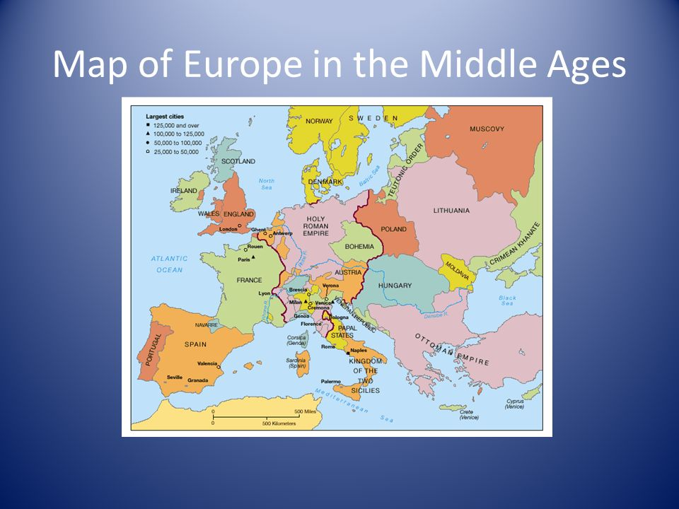 Map Of Spain And Europe.The Kingdoms Of Spain And Portugal Map Of Europe In The Middle Ages
